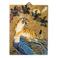 Asian Oriental Lacquered Painting Wall Art Plaque (Tiger)