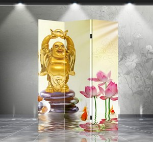 Double Sided Canvas Screen Room Divider - Happy Budhha