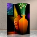 Double Sided Canvas Screen Room Divider - Vases