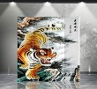 Double Sided Canvas Screen Room Divider - Tiger