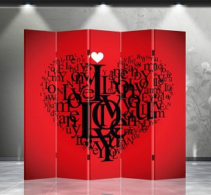 Double Sided Canvas Screen Room Divider - Love