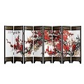 TJ Global 8-Panel Traditional Chinese Art for Home Decoration - Decorative Lacquerware, Home Decor, Lacquer, Oriental, Mini Divider (Cherry Blossom)