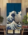 "Japanese Noren Doorway Curtain/Tapestry for Home or Restaurant - 33.5"" x 59"" (Great Wave Kanagawa)"