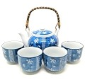 TJ Global Chinese Japanese Porcelain Tea Set with Blue Flower Design, 100% Handmade Traditional Tea Ceremony Set with Teapot and 4 Teacups