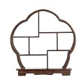 TJ Global 7 Compartment Traditional Chinese Rosewood Flower Shape Wooden Display Shelf/Organizer for Tea Pots, Crafts, Figurines, Memorabilia, and Miniatures - 11.5