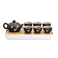 TJ Global Chinese/Japanese Ceramic Tea Set, 100% Handmade Traditional Tea Ceremony Set with Teapots, 6 Teacups, Bamboo Tea Tray with Drainage (Black)