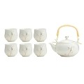 TJ Global Chinese/Japanese White with Gold Accents Porcelain Tea Set, 100% Handmade Traditional Tea Ceremony Set with Teapot and 6 Teacups