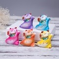 Set Of 5 Hand Painted Feng Shui Mini Maneki Neko Lucky Cats