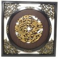 Antique Style Wall Frame w. Raised Golden Dragons & Phoenix Design