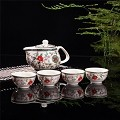 Exquisite 5 PCS Flower & Birds Design Ceramic Tea Pot Tea Cups Set In Beautiful Color Gift Box