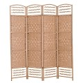 THY COLLECTIBLES Decorative Freestanding Woven Bamboo 4 Panels Hinged Privacy Panel Screen Portable Folding Room Divider 62