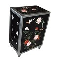 Black Lacquered Oriental Chest Silver Edge Trim